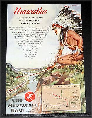 1945 OLD WWII MAGAZINE PRINT AD, MILWAUKEE ROAD, HIAWATHA, R. SKEMP TRAIN ART!