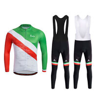 Italy Cycling Team Clothes Men's Long Sleeve Cycling Jersey Bib Pants Winter Set