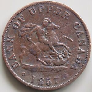 1857-PC-5D-Province-Of-Canada-Canadian-1-2-Penny-Bank-Of-Upper-Canada-Token