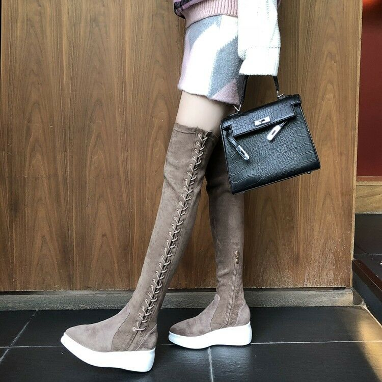 Women Lace up Zip Wedge Heels Suede Thight Over The Knee Boots Knight shoes