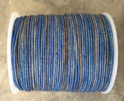 1 mm 1.5 mm 2 mm Naturel Bleu Pacifique Rond Cordon cuir-effet vieilli finition bleu 2