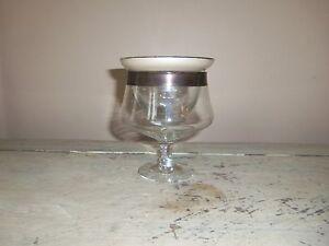 "Vintage Dorothy Thorpe Silver Band 4 5/8"" Seafood Cocktail Glass & Liner MCM"