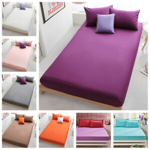 Bed-Fitted-Sheets-Comfort-Bedding-Cover-Bedclothes-Full-King-Queen-Cotton