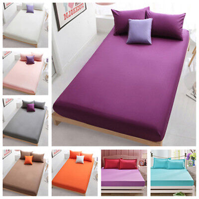 Queen Bed Fitted Sheets Full King Solid Color Bedding