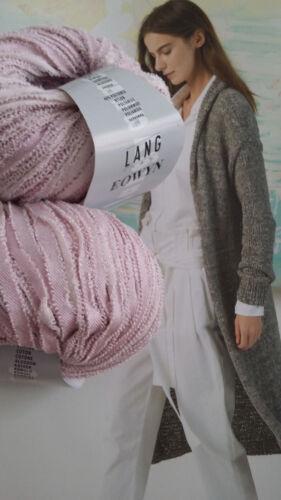 500g EOWYN Bändchen Wolle Lang Yarns Luxus SOMMER Rosa mit leichtem Sommer Glanz