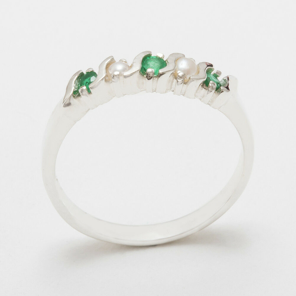 14ct White gold Natural Emerald & Full Pearl Womens Eternity Ring - Sizes J to Z
