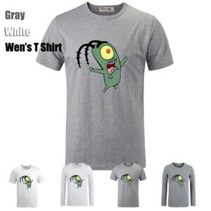 Cute-Cartoon-Spongebob-Plankton-Graphic-Long-Short-Sleeves-Men-039-s-T-Shirt-Tee-Top
