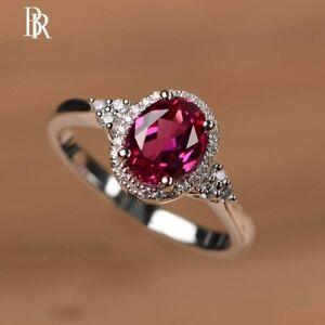 Genuine fine jewelry woman ring Sterling Silver 925 Red Garnet Gemstone BR®