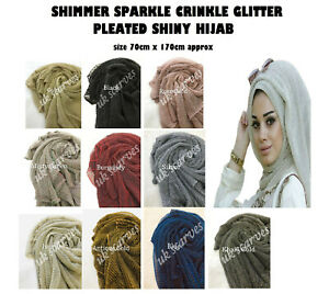 New Elegant Shimmer Hijab Crinkle Pleated Shiny Sparkle Wrap Scarf Glitter Shawl