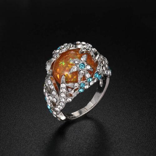 Trendy 925 Silver Orange Fire Opal Starfish Wedding Engagement Ring Size 6-10