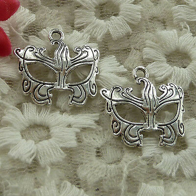 free ship 180 pieces Antique silver mask charms 22x22mm #2768