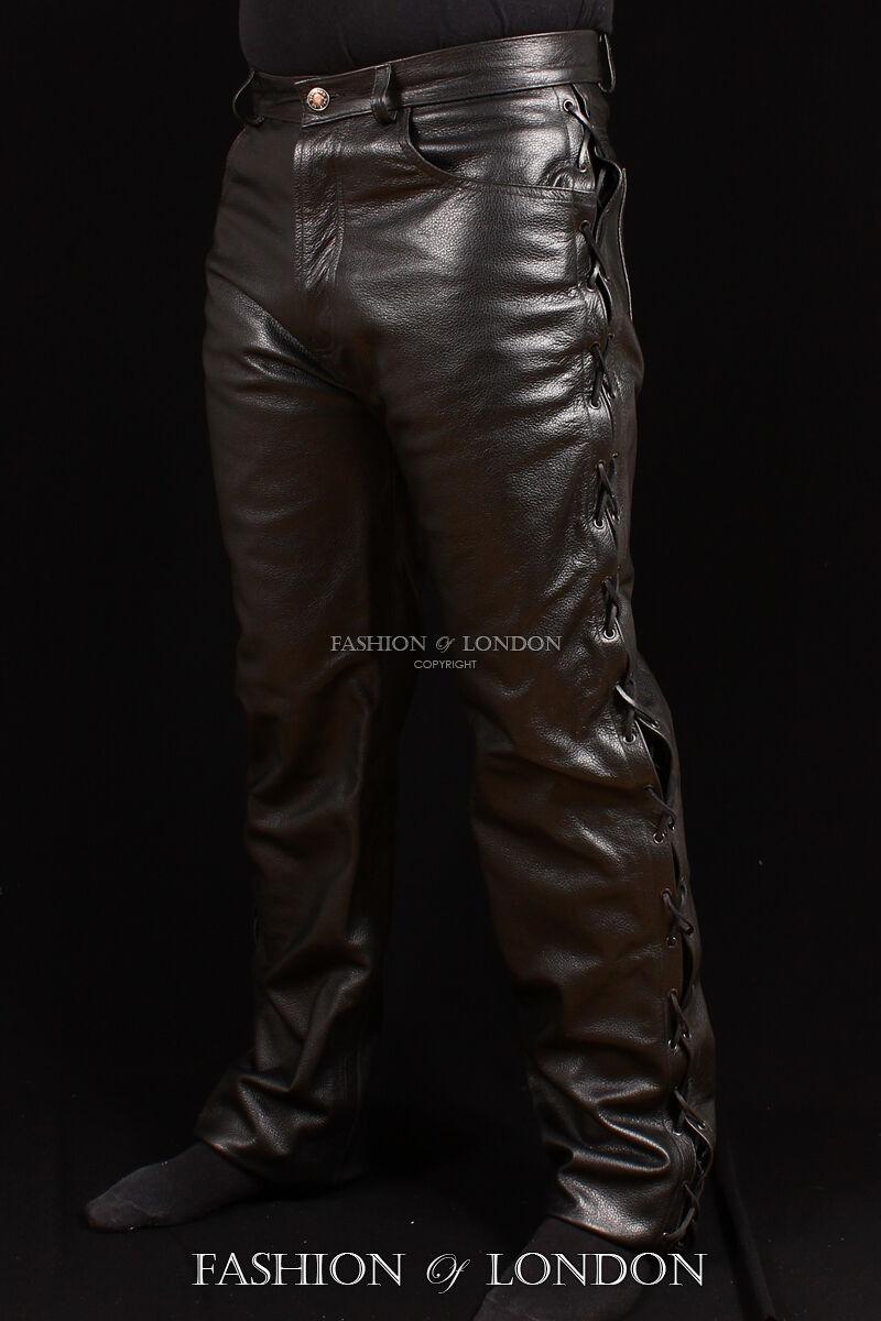 Uomo '501 pizzo Jeans stile ' NERO VACCHETTA REAL LEATHER BIKER pantaloni 00126