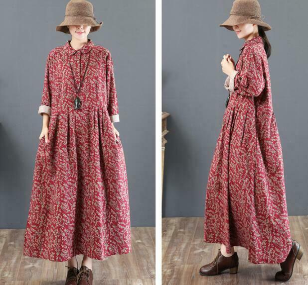 Femme Longue robes Motif Floral OverTaille Turn Down Collar Retro mode Loose