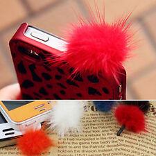 Hot Rabbit Fur Ball Earphone Anti Dust Plug Cover 3.5mm For Cell Phone Pop