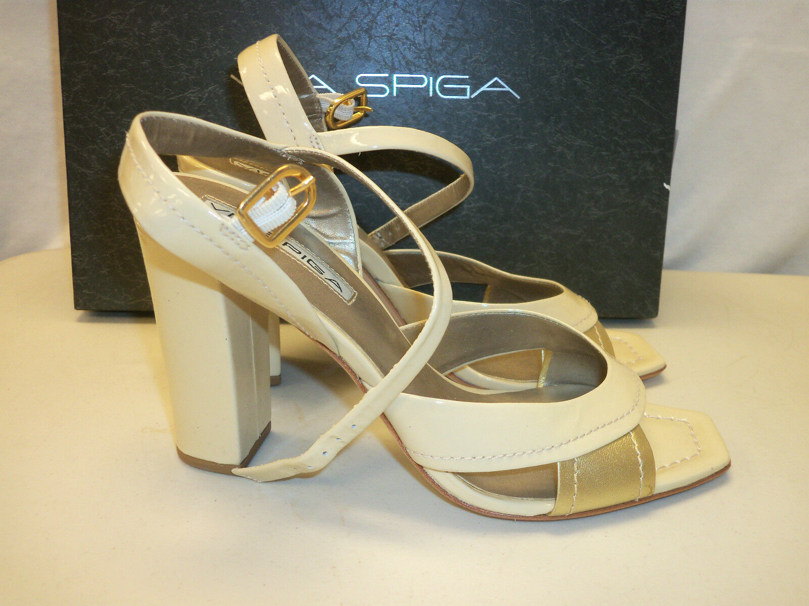 Via Spiga Size 7 M BRASS Ivory gold Leather Heels Sandals New Womens shoes