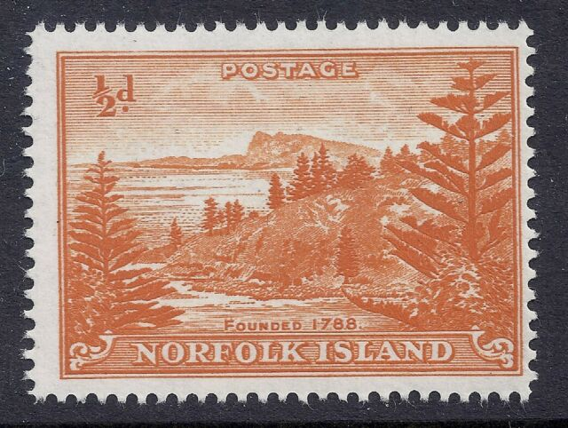 1956 NORFOLK ISLAND BALL BAY ½d ORANGE WHITE PAPER FINE MINT MNH/MUH