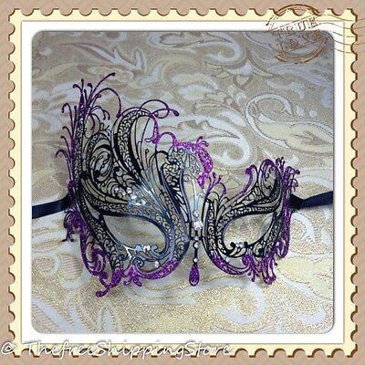 Black Swan Laser Cut Venetian Masquerade Mask w/Rhinestones & Purple Glitter