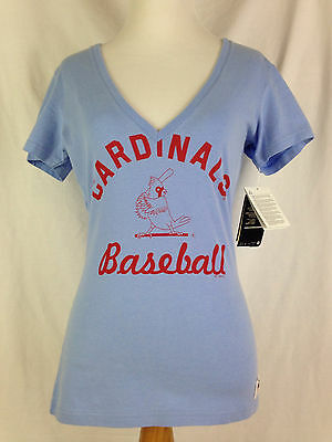 St Louis Cardinals Womens Shirt S Small Size Blue Red Baseball Slim Fit MLB NWT