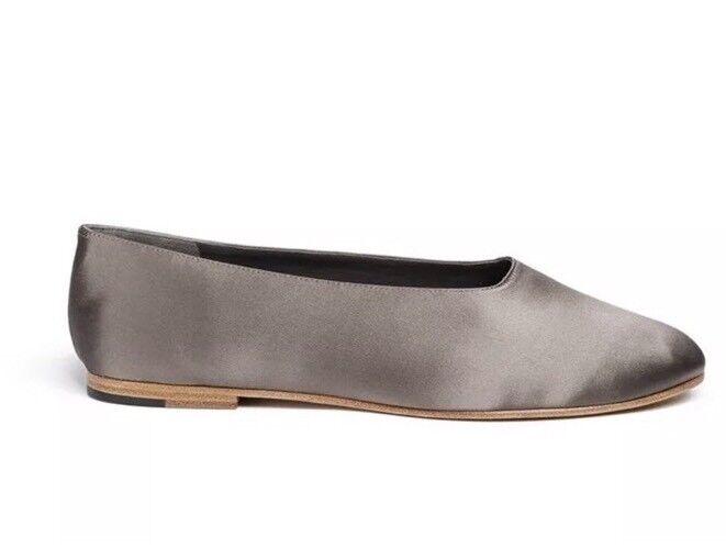 Vince Maxwell 2 Satin Ballerina Grey Flats Sz 9M 9338