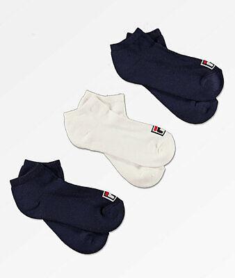 Women/'s Fila Heritage Quarter Socks Aerated Mesh Body 3 Pack White