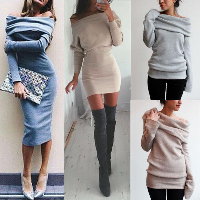 Sexy Women Winter Off Shoulder Jumper Sweater Tops Bodycon Shirt Slim Mini Dress