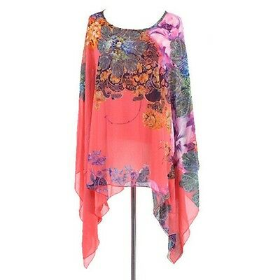 Stylish Women's Floral Tee Blouse Short Sleeve Batwing Irregular T-Shirt Tops LG