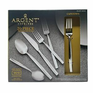 18//10 Stainless Steel 20-Pc Beveled Flatware Set Service for 4 Argent Orfèvres