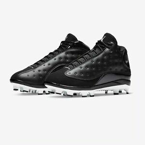 on sale fc7c3 69b83 Air Jordan 13 XIII Retro MCS Baseball Cleat Black White ...