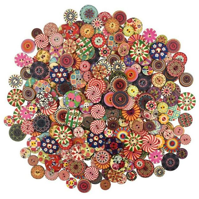 300Pcs Mixed Round Wooden Colorful Buttons Crafting Buttons with 2 Holes forD3O2