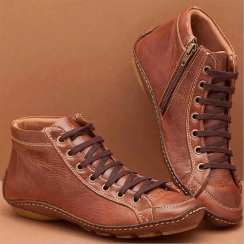 Damen PU Ankle Boots Schuhe Booties Stiefel Martin Stiefeletten Schlupf GR.36-43