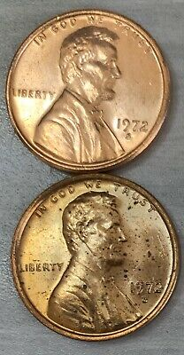 1971-S /& 1972-S Lincoln Memorial Penny Uncirculated US 2 One Cent Coins