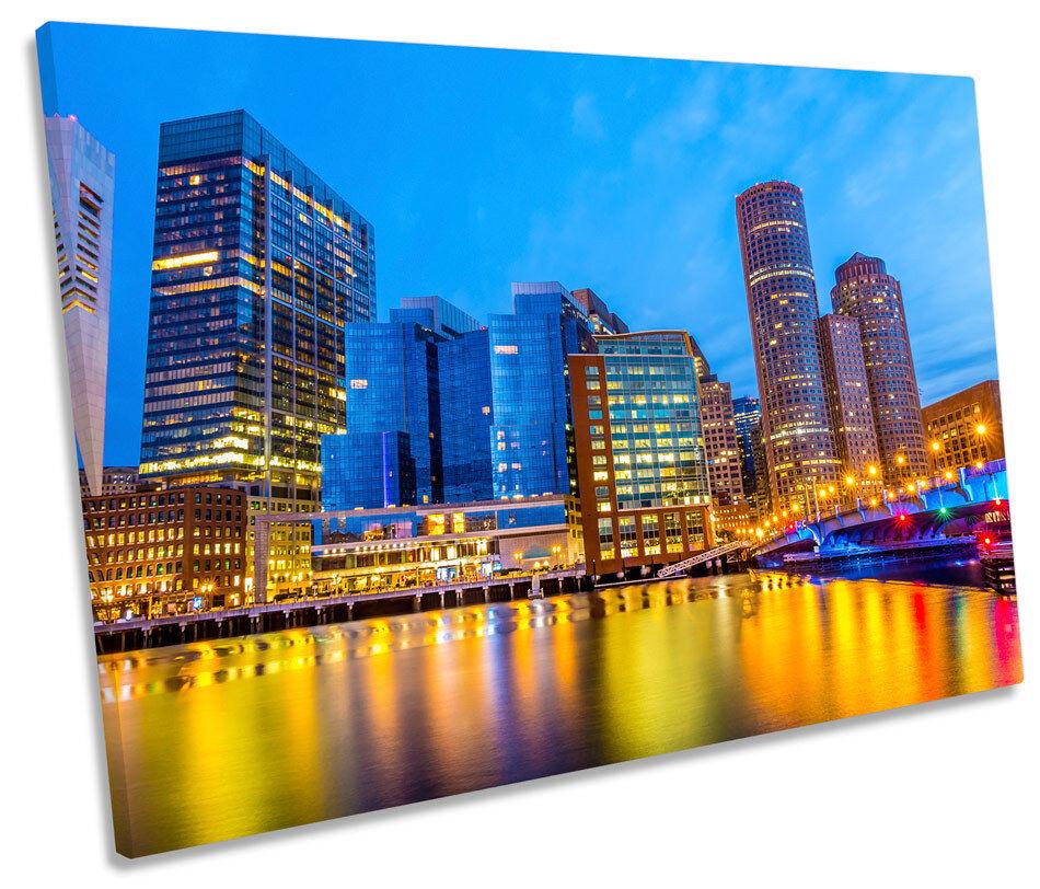 Boston Harbour Cityscape SINGLE CANVAS WALL ART Box Framed