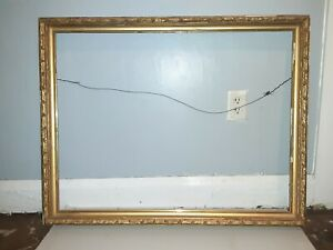 "Antique Large ORNATE GOLD GILT WOOD GESSO FRAME 35.5""x29.5""  FITS 34.5""X26.5 ART"