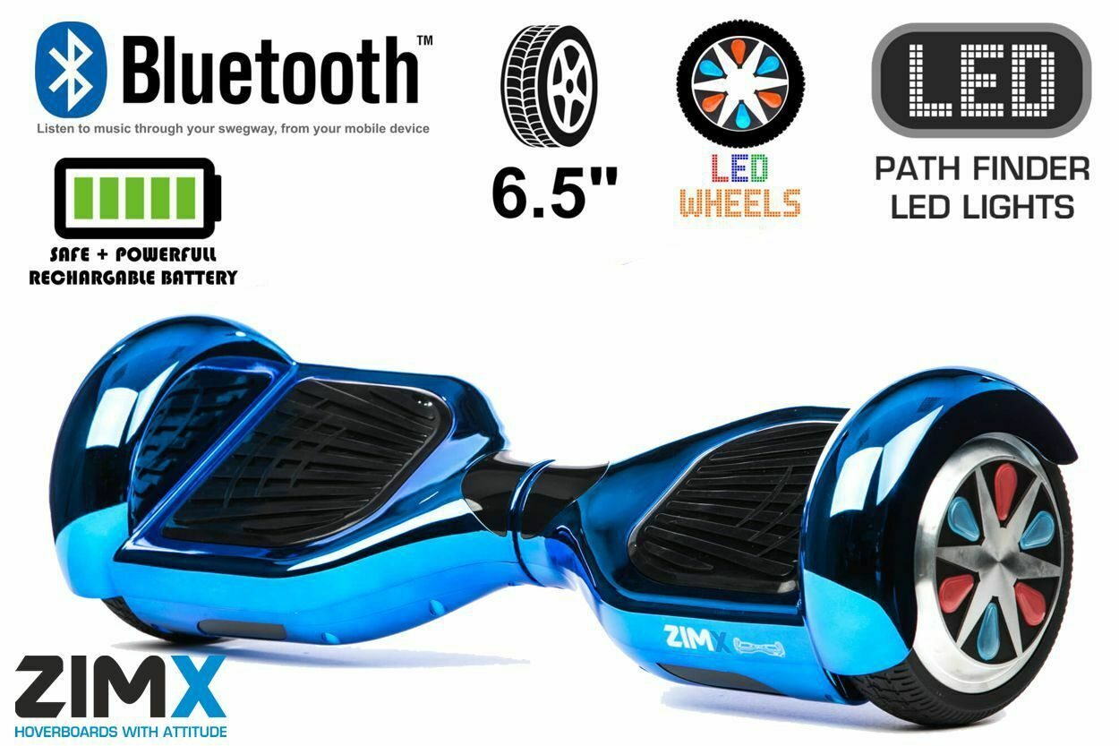 ZIMX - bluee Chrome 6.5  Certified Swegway Hoverboard - Limited Edition