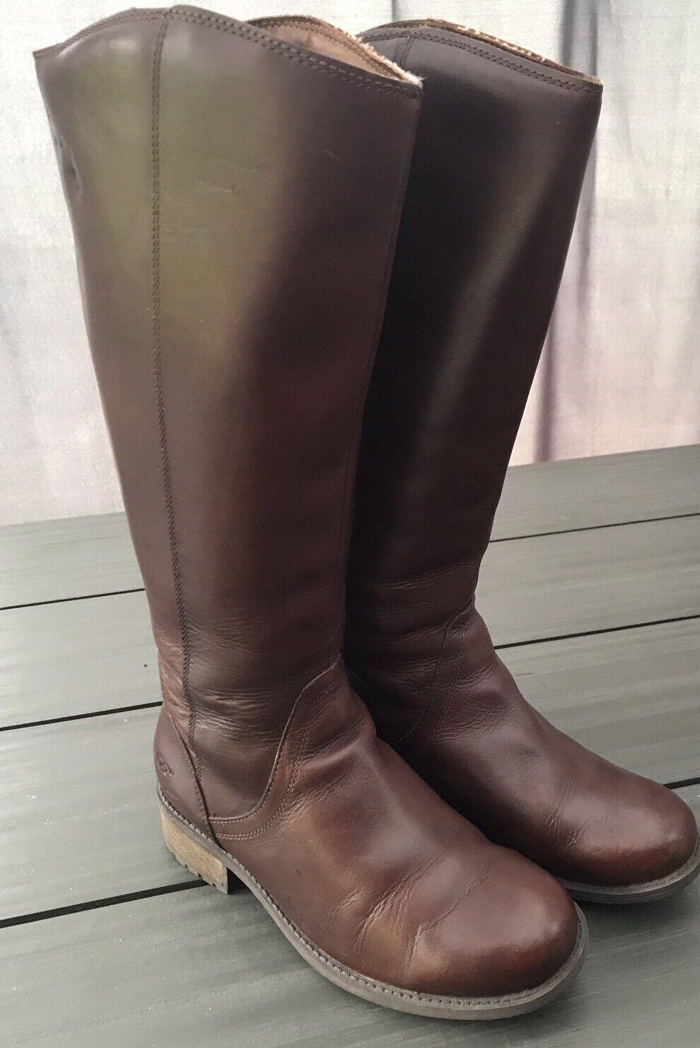 Bottes en cuir brunes pour dames UGG authentiques - taille UK 4.5 / EU 37