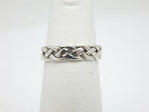 STERLING-SILVER-925-BRAIDED-BAND-TOE-RING-SIZE-3-25-ADJUSTABLE