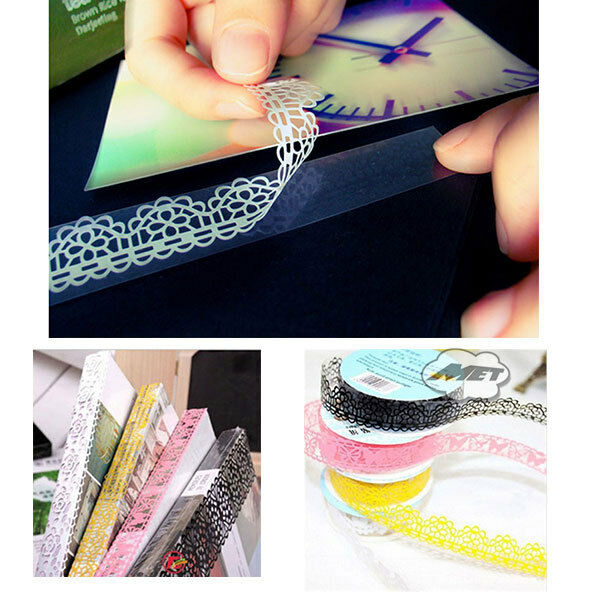 10Pcs Lace Decorative Self Adhesive Masking Washi Tape Sticky Paper Sticker DIY