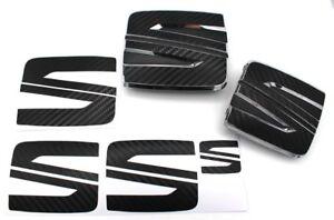 Folie-Emblem-Seat-Logo-Set-vo-hi-Schwarz-Carbon-fuer-Seat-Leon-Cupra-5F-SC-ST-FR