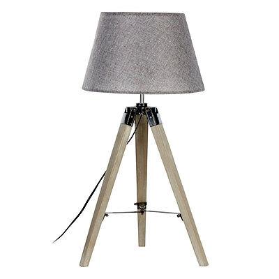 Harper Natural Grey Wood Tripod Table Lamp With Shade Ebay