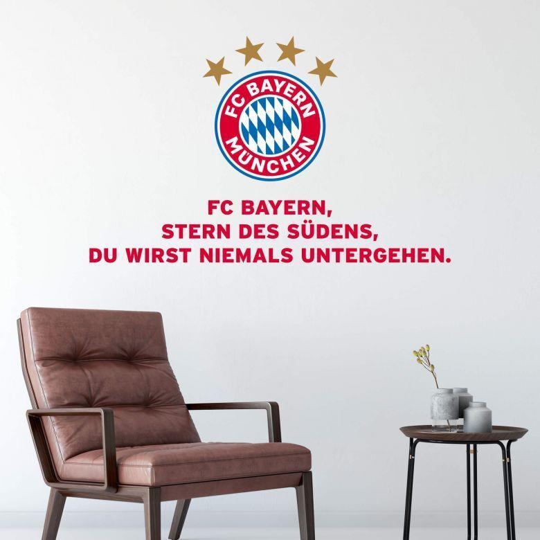 FC Bayern München Hymne Fussball Bundesliga Rekordmeister Fan Wandtattoo Sport    Neuer Stil