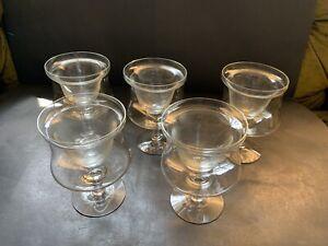 Set-of-5-Glass-Crystal-Shrimp-Cocktail-Servers-Ice-Cups-amp-5-Liners-Large-Vintage