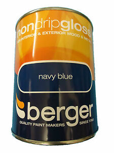 Berger Non Drip Gloss For Interior Exterior Wood Metal Navy Blue Paint Ebay