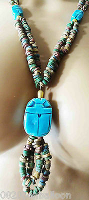 Egyptian HandMade Multi Beaded Cleopatra LG Scarab Necklace Collar Christmas 234