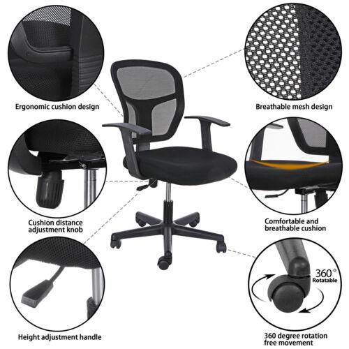 2pcs Black Mid Back Desk Office Chair with Armrests Mesh Back Ajustable Swivels
