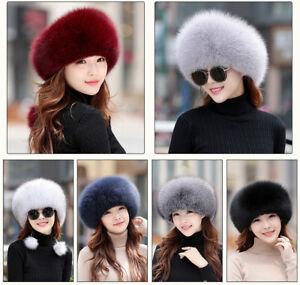 80951ba9d6e5c Winter Women 100% Real Genuine Fox Fur Hat Cap Winter Warm Gift