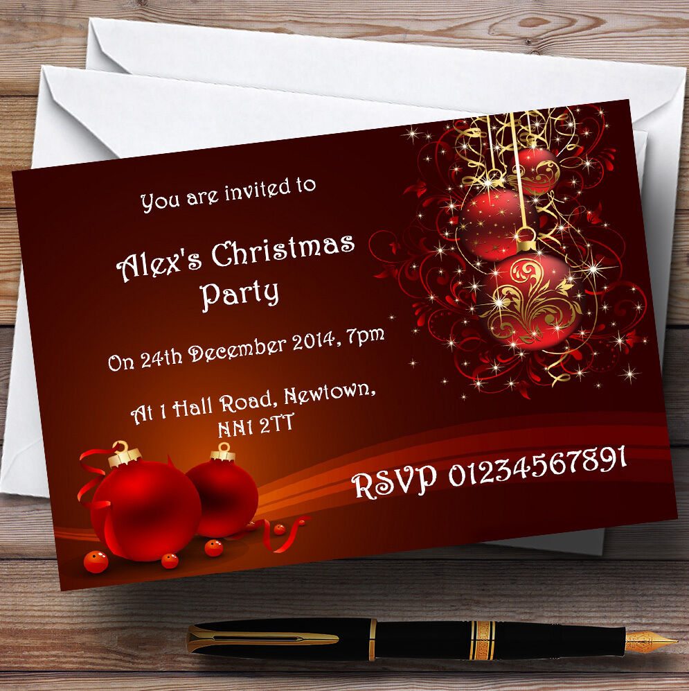 rot Decs Personalised Christmas Party Invitations