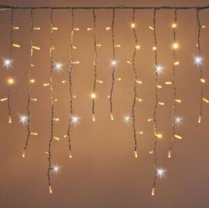 LED Christmas Light String Warm White Holiday Lighting Grn Cord G12 18FT