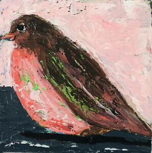 Robin-Bird-Outsider-Folk-Art-Brut-Palette-Knife-Painting-Katie-Jeanne-Wood
