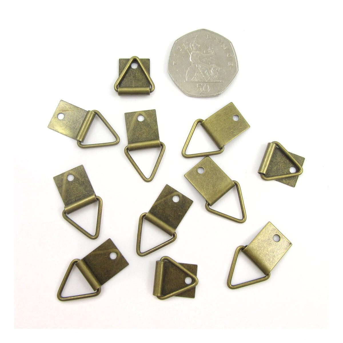 Triángulo de latón antiguo 27mm X 16mm Resistente Gancho Para Colgar Marco de Imagen Hanger H991
