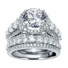 3.50ct Cushion Halo Diamond Engagement Ring Set 14k White Gold